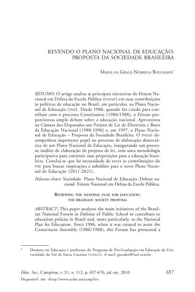 Maria da Graça Nóbrega Bollmann  REVENDO O PLANO NACIONAL DE EDUCAÇÃO: PROPOSTA DA SOCIEDADE BRASILEIRA MARIA DA GRAÇA NÓB...