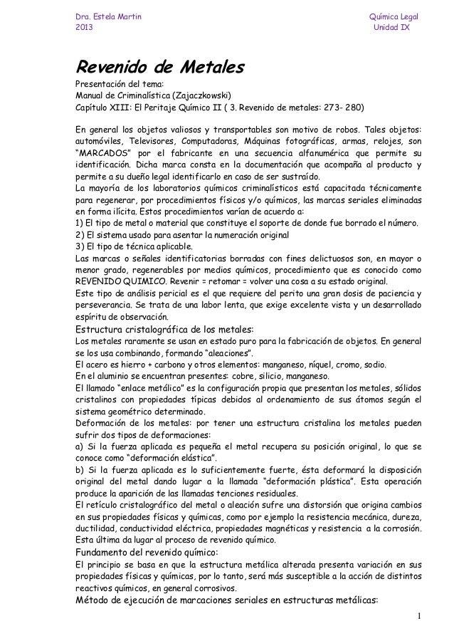 Dra. Estela Martin Química Legal 2013 Unidad IX 1 Revenido de Metales Presentación del tema: Manual de Criminalística (Zaj...