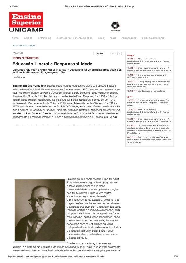 13/2/2014  home  Educação Liberal e Responsabilidade - Ensino Superior Unicamp  artigos  entrevistas  International Higher...