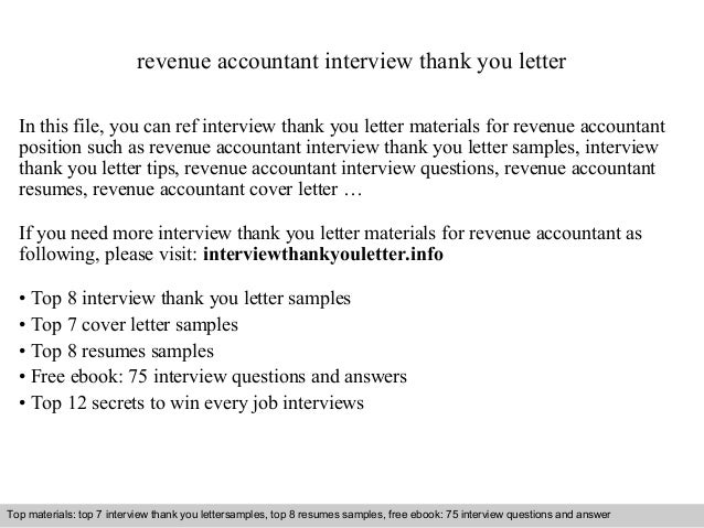 Revenue Accountant Interview Thank You Letter In This File, You Can Ref  Interview Thank You ...
