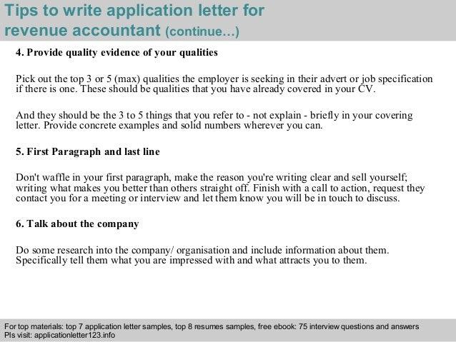 Revenue accountant application letter