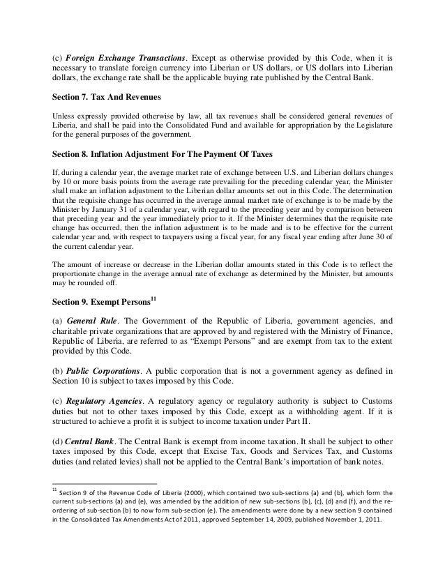 revenue code of liberia 2011