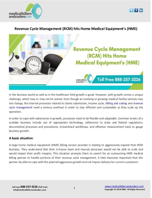 Revenue cycle management (rcm) hits home medical equipment's