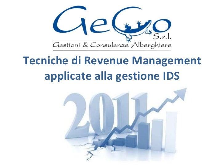 Tecniche di Revenue Management applicate alla gestione IDS