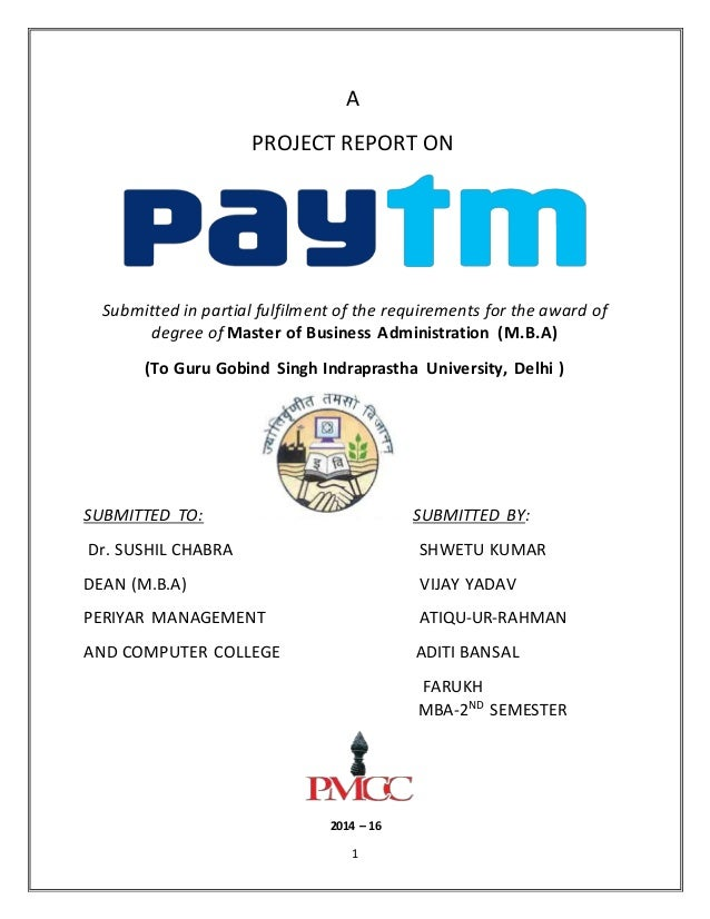 1 A PROJECT REPORT ON Submitted in partial fulfilment of the requirements for the award of degree of Master of Business Ad...