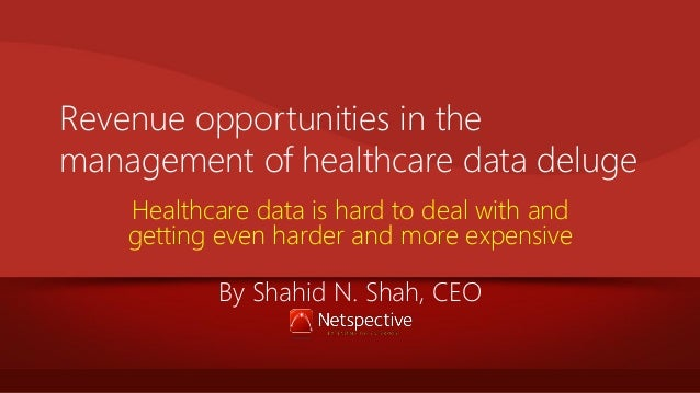 Revenue opportunities in the management of healthcare data deluge Healthcare data is hard to deal with and getting even ha...