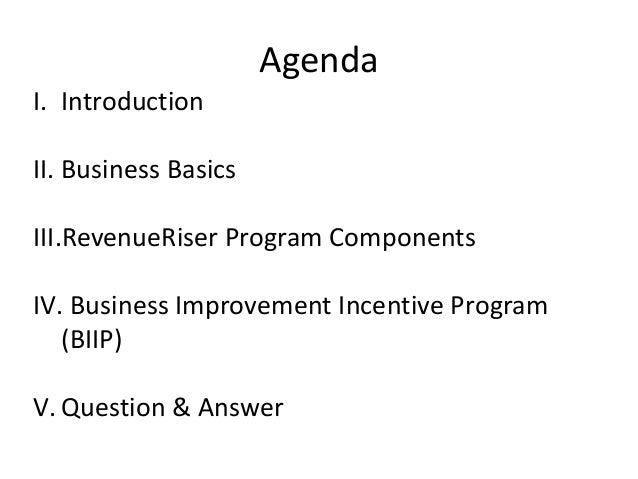 Agenda I. Introduction II. Business Basics III.RevenueRiser Program Components IV. Business Improvement Incentive Program ...