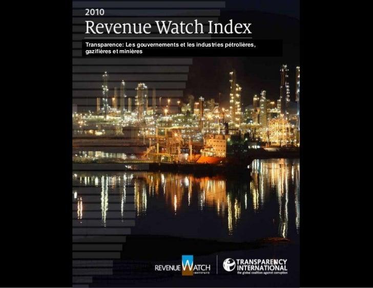 Transparence: Les gouvernements et les industries pétrolières, gazifières et minières<br />