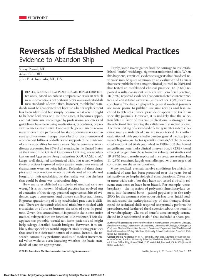 VIEWPOINT           Reversals of Established Medical Practices           Evidence to Abandon Ship           Vinay Prasad, ...