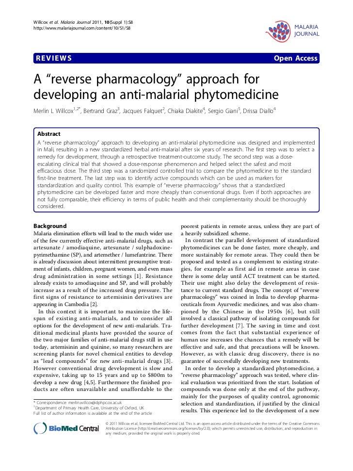 Willcox et al. Malaria Journal 2011, 10(Suppl 1):S8http://www.malariajournal.com/content/10/S1/S8 REVIEWS                 ...