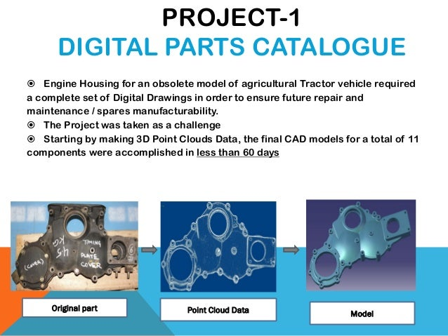 PROJECT-1 DIGITAL PARTS CATALOGUE  Engine Housing for an obsolete model of agricultural Tractor vehicle required a comple...
