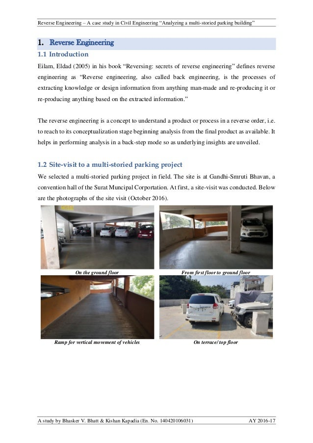 """Reverse Engineering – A case study in Civil Engineering """"Analyzing a multi-storied parking building"""" A study by Bhasker V...."""