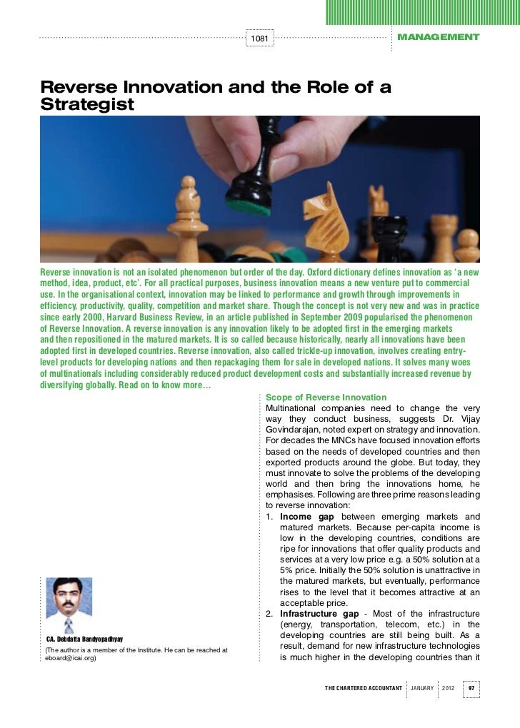 1081                                       MANAGEMENTReverse Innovation and the Role of aStrategistReverse innovation is n...