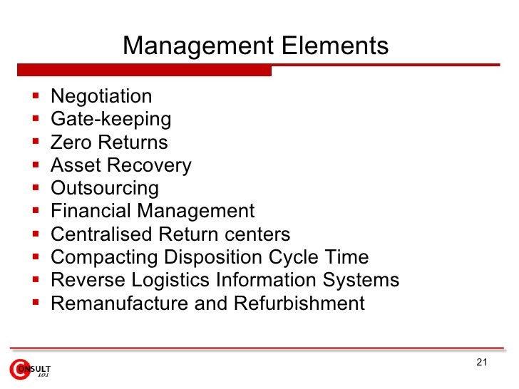 Management Elements  <ul><li>Negotiation </li></ul><ul><li>Gate-keeping </li></ul><ul><li>Zero Returns </li></ul><ul><li>A...