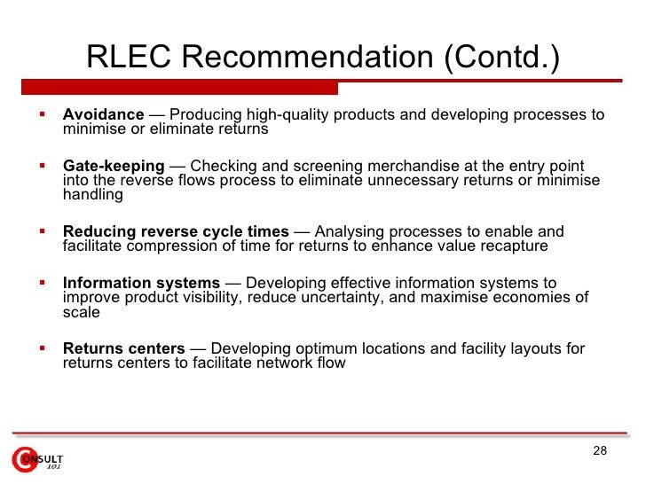RLEC Recommendation (Contd.) <ul><li>Avoidance  — Producing high-quality products and developing processes to minimise or ...
