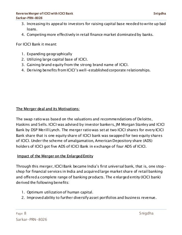 merger of icici and icici bank Of pre and post merger performance in icici bank ltd and also to study the asset quality, earning quality, liquidity ratios and management efficiency ratios of pre and post merger.
