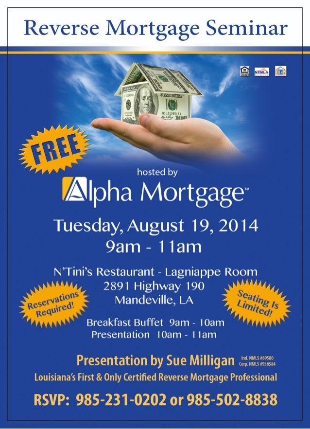 reverse mortgage seminar flyer