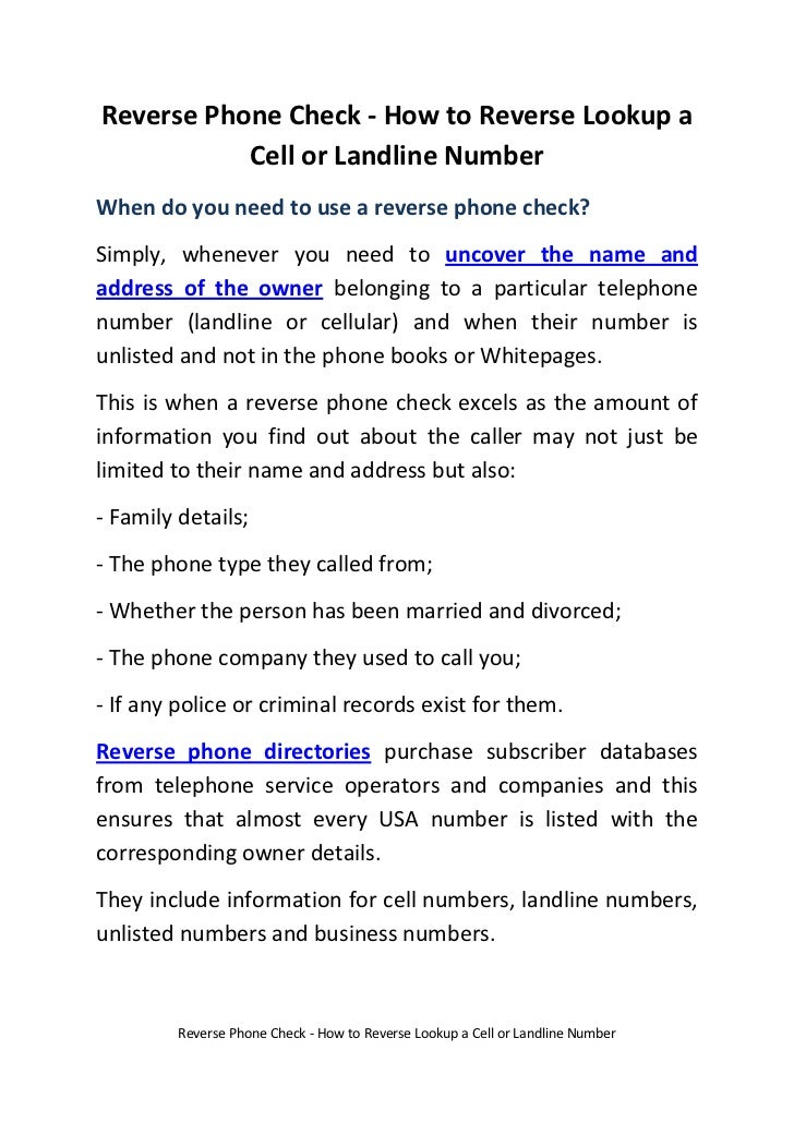 Reverse Phone Check - How to Reverse Lookup a Cell or Landline Number<br />When do you need to use a reverse phone check?<...