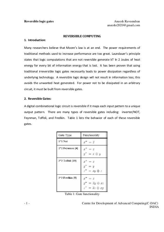 Reversible logic gates Aneesh Raveendran aneeshr2020@gmail.com - 1 - Centre for Development of Advanced Computing(C-DAC) I...