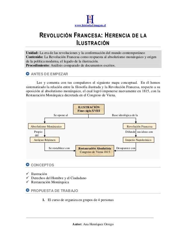 www.historia1imagen.cl  REVOLUCIÓN FRANCESA: HERENCIA DE LA ILUSTRACIÓN Unidad: La era de las revoluciones y la conformaci...