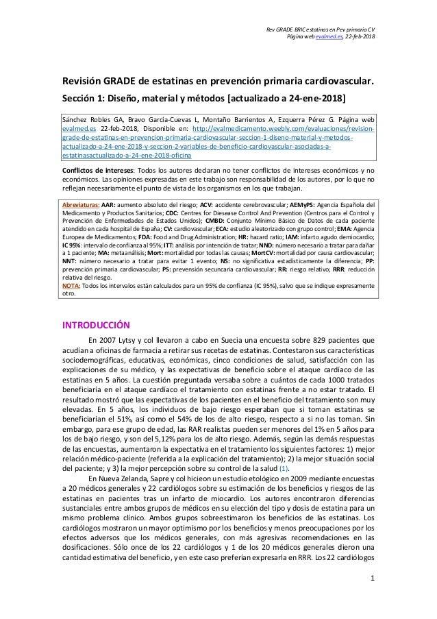 Rev GRADE BRIC estatinas en Pev primaria CV Página web evalmed.es, 22-feb-2018 1 Revisión GRADE de estatinas en prevención...
