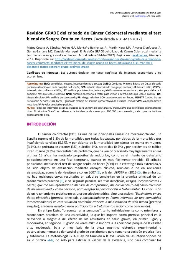 Rev GRADE cribado CCR mediante test bienal SOH Página web evalmed.es, 26-may-2017 1 Revisión GRADE del cribado de Cáncer C...