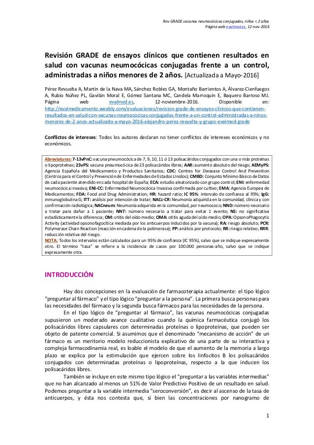 Rev GRADE vacunas neumocócicas conjugadas, niños < 2 años Página web evalmed.es, 12-nov-2016 1 Revisión GRADE de ensayos c...