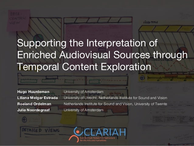Supporting the Interpretation of Enriched Audiovisual Sources through Temporal Content Exploration Hugo Huurdeman Universi...