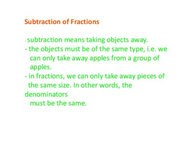 how to take away fractions