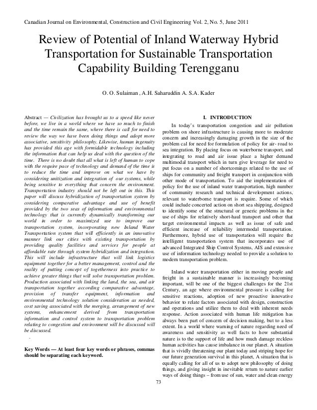 Canadian Journal on Environmental, Construction and Civil Engineering Vol. 2, No. 5, June 2011      Review of Potential of...