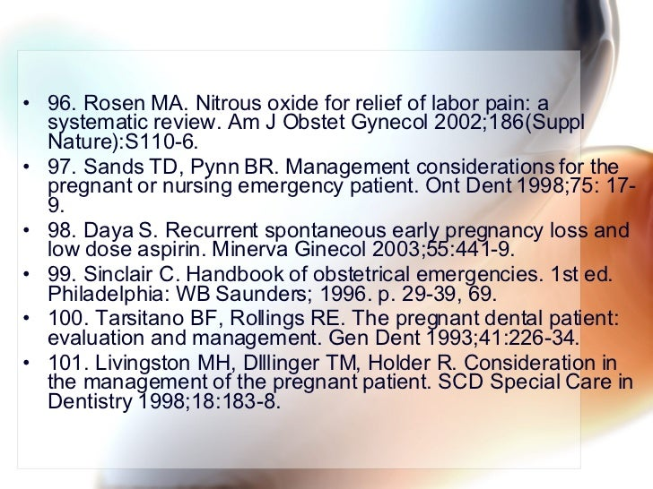 <ul><li>96. Rosen MA. Nitrous oxide for relief of labor pain: a systematic review. Am J Obstet Gynecol 2002;186(Suppl Natu...