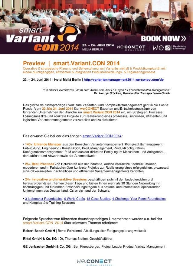 Preview | smart.Variant.CON 2014 Operative & strategische Planung und Beherrschung von Variantenvielfalt & Produktkomplexi...