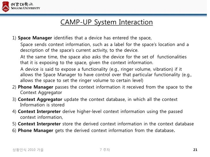 CAMP-UP System Interaction1) Space Manager identifies that a device has entered the space,    Space sends context informat...