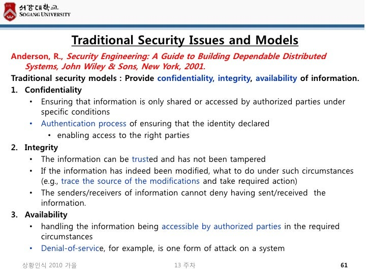 Traditional Security Issues and ModelsAnderson, R., Security Engineering: A Guide to Building Dependable Distributed   Sys...