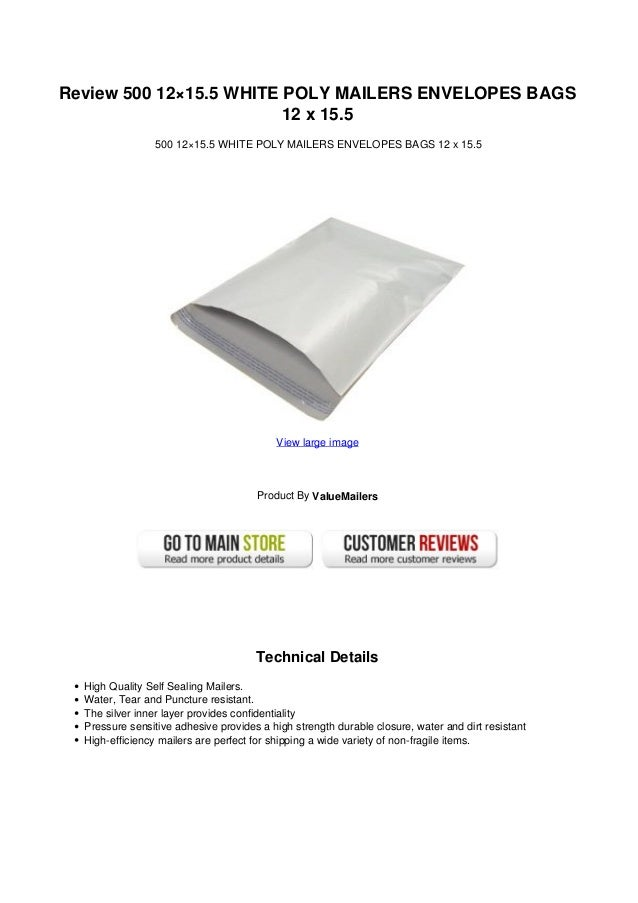 Review 500 12×15.5 WHITE POLY MAILERS ENVELOPES BAGS                         12 x 15.5                 500 12×15.5 WHITE P...