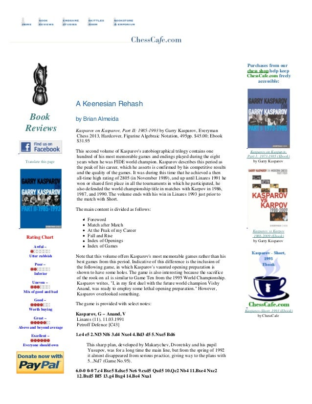 Purchases from our chess shop help keep ChessCafe.com freely accessible:   A Keenesian Rehash  Book Reviews   Translate...