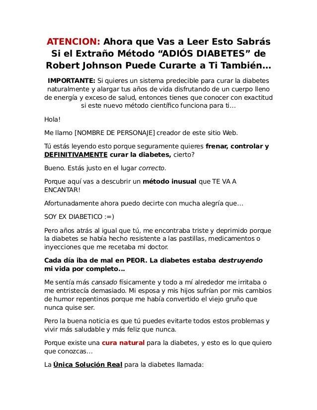 """ATENCION: Ahora que Vas a Leer Esto Sabrás Si el Extraño Método """"ADIÓS DIABETES"""" de Robert Johnson Puede Curarte a Ti Tamb..."""