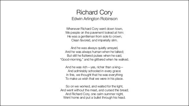 richard cory poem analysis