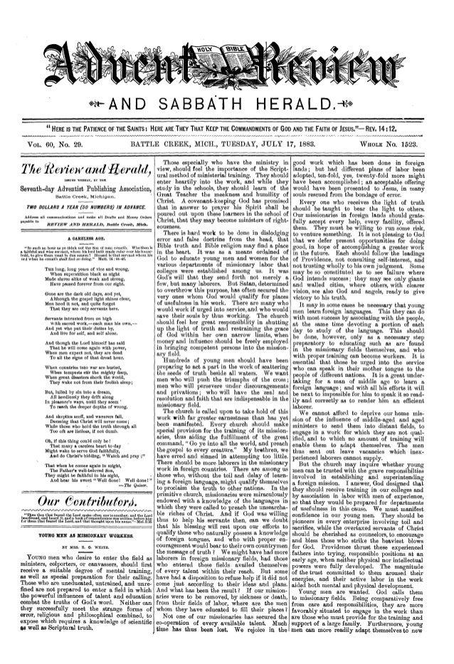 Review and herald 17 de julio de 1883