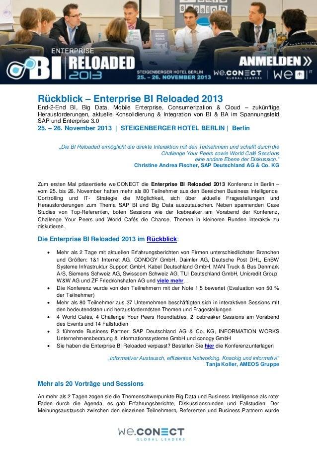 Rückblick – Enterprise BI Reloaded 2013 End-2-End BI, Big Data, Mobile Enterprise, Consumerization & Cloud – zukünftige He...