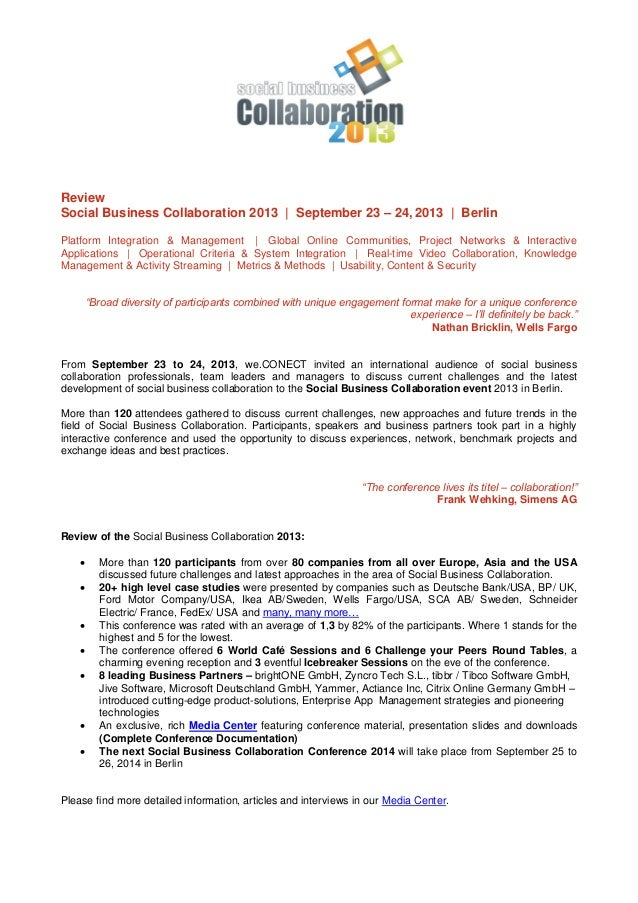 Review Social Business Collaboration 2013 | September 23 – 24, 2013 | Berlin Platform Integration & Management | Global On...