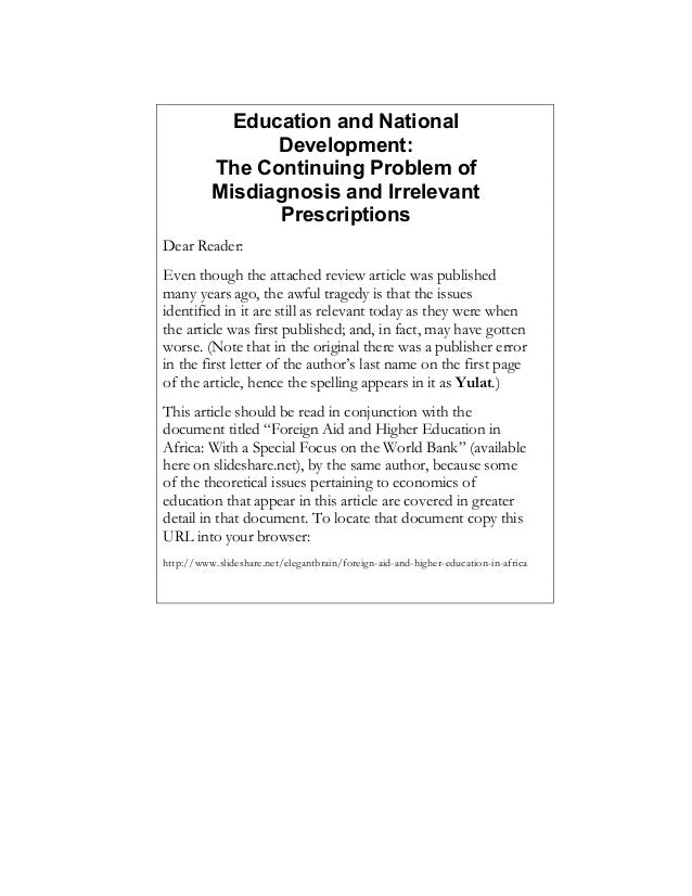Education and National Development: Essay Review