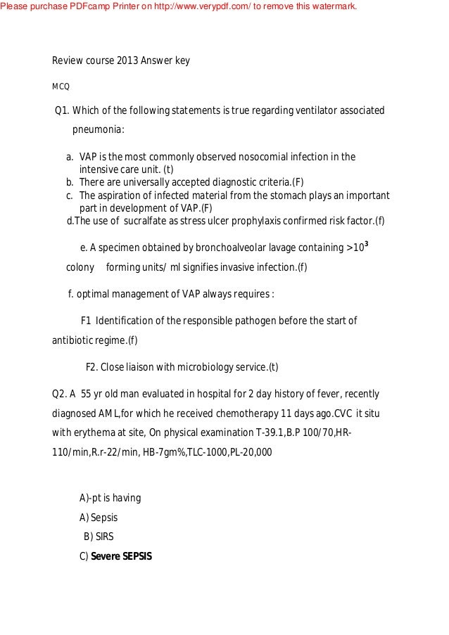 Review Course 2013 Answer