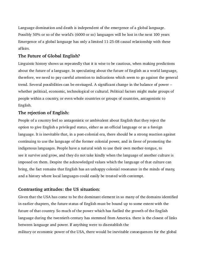 Review  English As Global Language By David Crystal  Linguistic Death