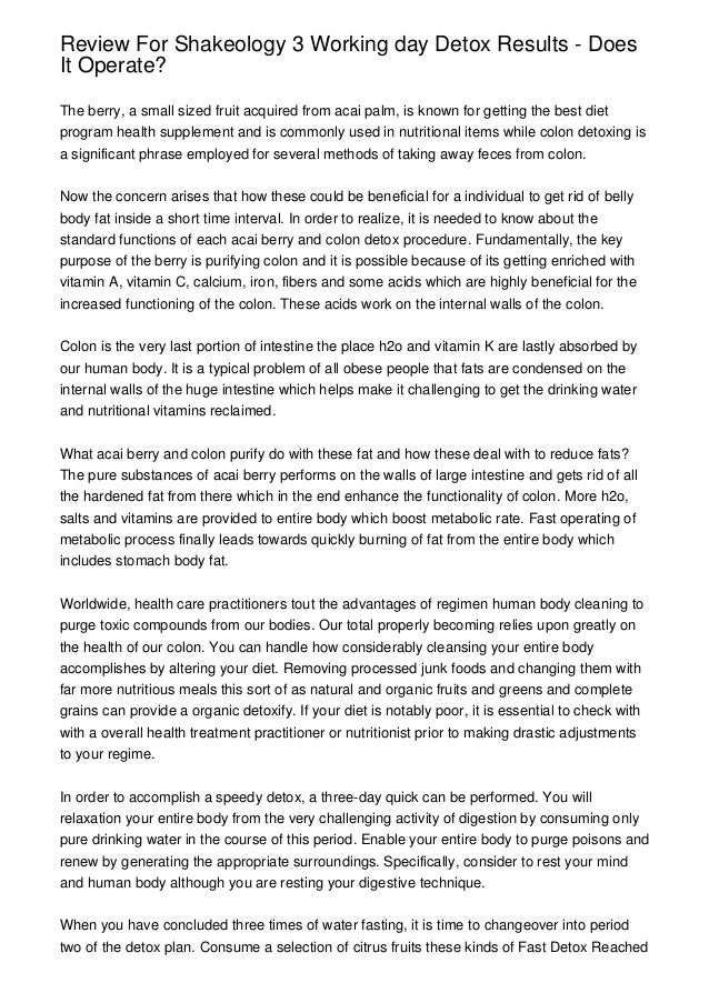 Review For Shakeology 3 Working day Detox Results - Does It Operate?