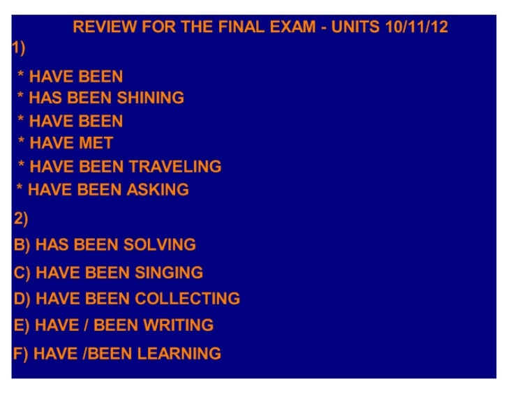 Review for the final exam, gilmar