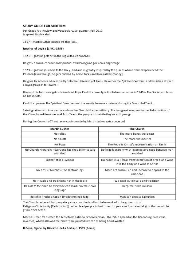 STUDY GUIDE FOR MIDTERM 9th Grade Art, Review and Vocabulary,1stquarter, Fall 2010 Jaspreet Singh Nahal 1517 – Martin Luth...
