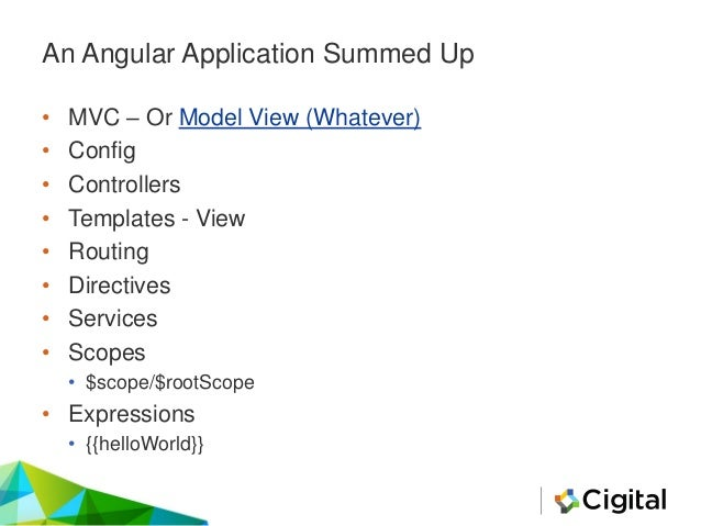 An Angular Application Summed Up • MVC – Or Model View (Whatever) • Config • Controllers • Templates - View • Routing • Di...
