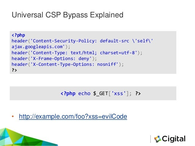 Universal CSP Bypasses • Example