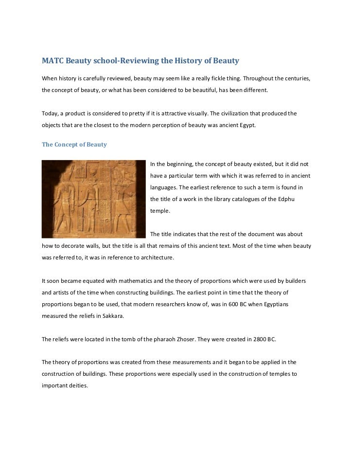 MATC Beauty school-Reviewing the History of BeautyWhen history is carefully reviewed, beauty may seem like a really fickle...